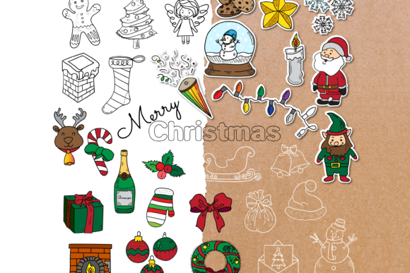 Download Free Christmas Doodle Clipart Pack 4 Styles Graphic By Wadlen for Cricut Explore, Silhouette and other cutting machines.