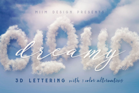 Print on Demand: Clouds – 3D Lettering Graphic Objects By JumboDesign