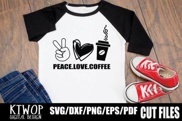Download Free Peace Love And Coffee Graphic By Ktwop Creative Fabrica for Cricut Explore, Silhouette and other cutting machines.