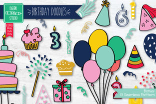 Colored Hand Drawn Birthday Doodle Graphic Illustrations By Digital_Draw_Studio