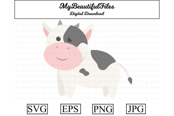 Download Free Cow Cute Clipart Graphic By Mybeautifulfiles Creative Fabrica for Cricut Explore, Silhouette and other cutting machines.