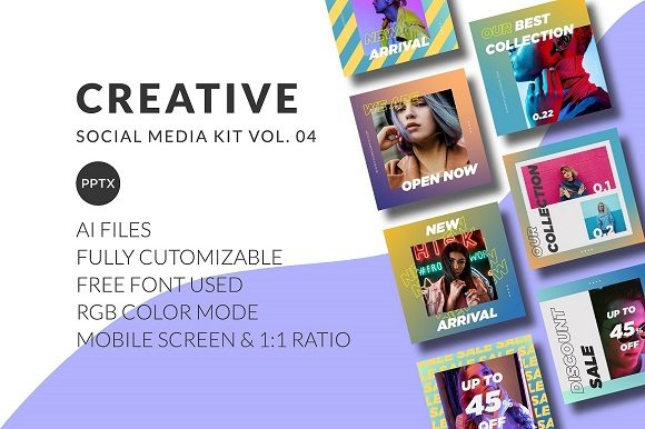 Download Free Creative Social Media Kit Vol 04 Graphic By Wijayacreative for Cricut Explore, Silhouette and other cutting machines.