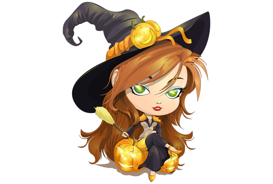 Download Free Cute Witch Graphic By Dhenstudio23 Creative Fabrica for Cricut Explore, Silhouette and other cutting machines.