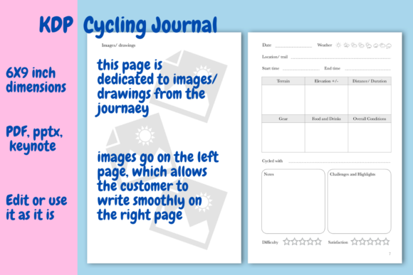 Download Free Cycling Journal For Kdp Graphic By Income Plum Creative Fabrica for Cricut Explore, Silhouette and other cutting machines.