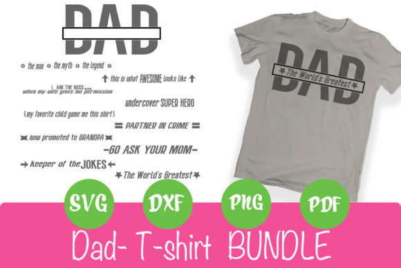 Print on Demand: Dad Shirt Bundle Grafik Plotterdateien von rushton_tracy