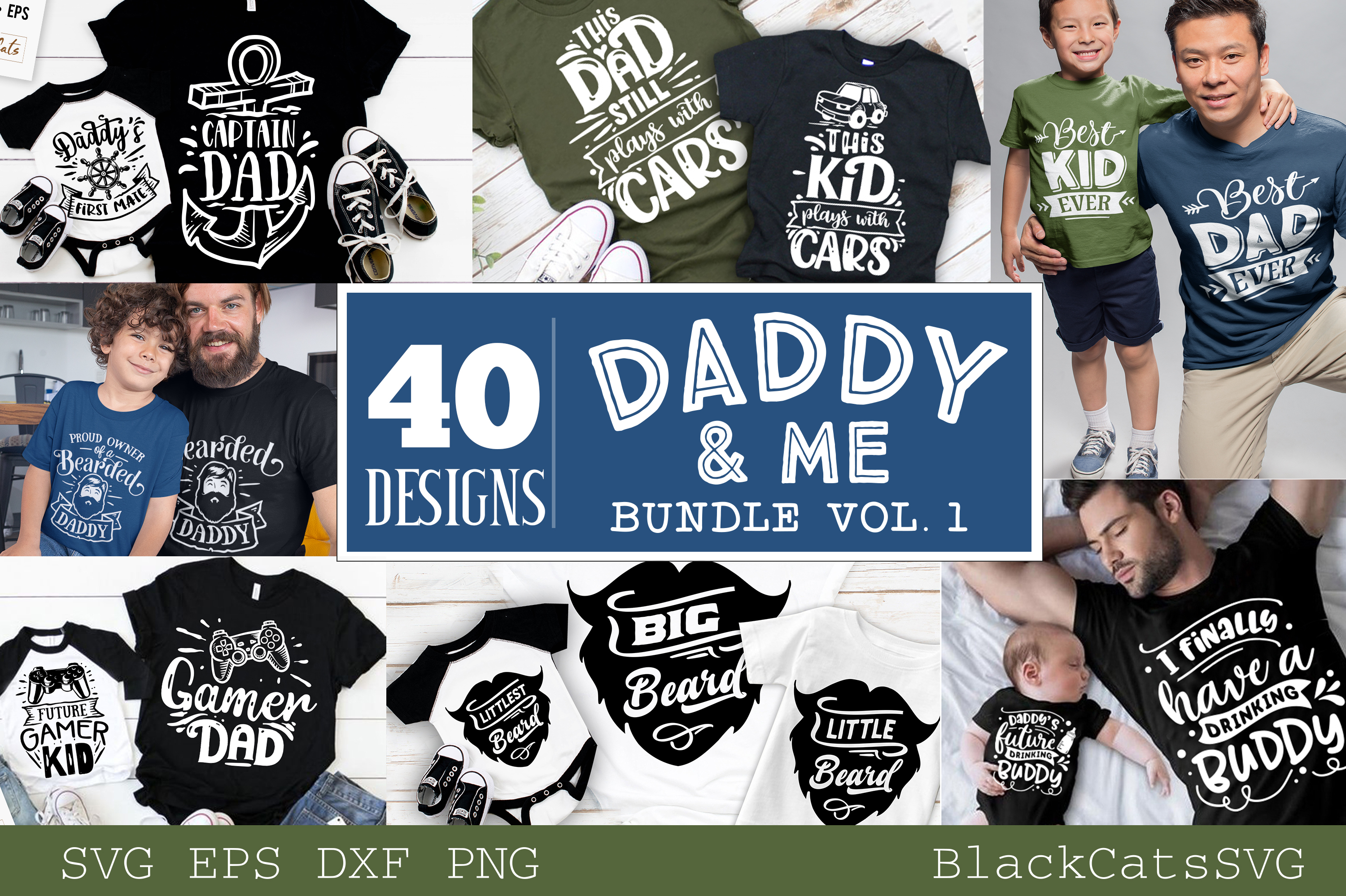 Download Free Daddy And Me Bundle 40 Designs Vol 1 Graphic By Blackcatsmedia for Cricut Explore, Silhouette and other cutting machines.