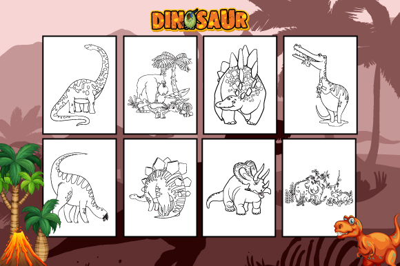Dinosaurs Coloring Book for Kids Graphic Coloring Pages & Books Kids By MK DESIGNS - Image 2