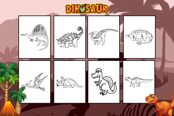 Dinosaurs Coloring Book for Kids Graphic Coloring Pages & Books Kids By MK DESIGNS - Image 3