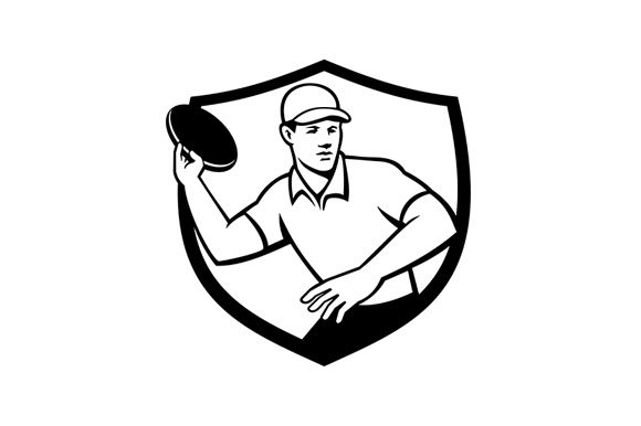 Print on Demand: Disc Golf Player Throwing Crest Graphic Illustrations By patrimonio