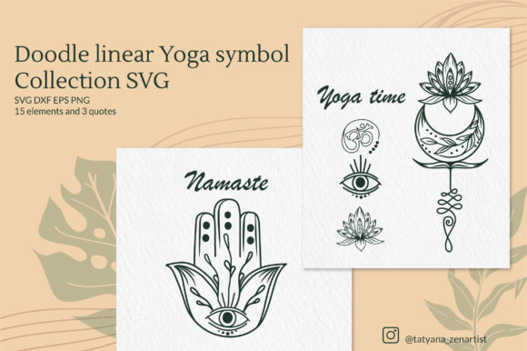 Download Free Doodle Linear Yoga Symbol Cut Files Graphic By Tatyana Zenartist for Cricut Explore, Silhouette and other cutting machines.