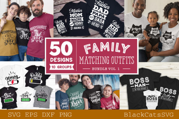 Family Matching Outfits Bundle Vol 1 Gráfico Crafts Por BlackCatsMedia