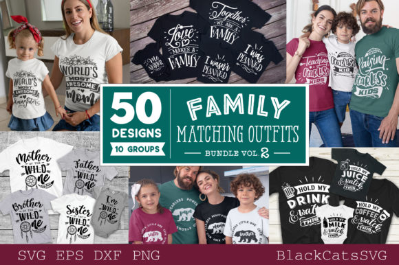 Family Matching Outfits Bundle Vol 2 Gráfico Crafts Por BlackCatsMedia