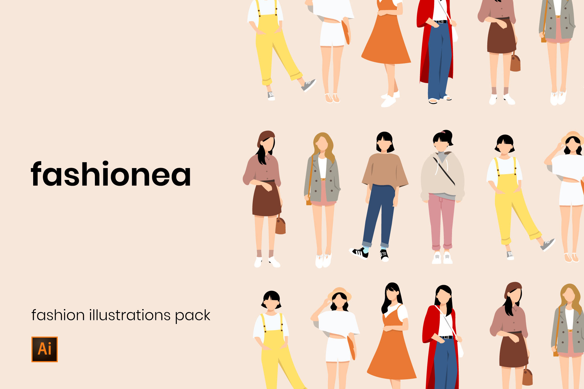 Download Free Fashion Vector Illustrations Graphic By Wakemeupstd Creative for Cricut Explore, Silhouette and other cutting machines.