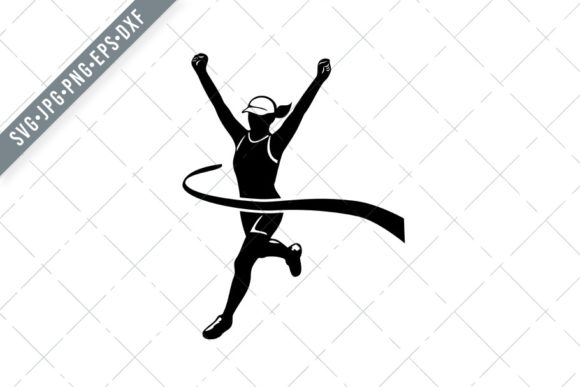 Download Free Female Marathon Runner Finishing Graphic By Patrimonio for Cricut Explore, Silhouette and other cutting machines.