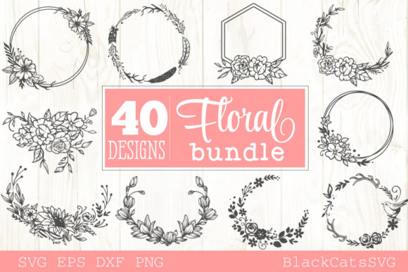 Floral Frames Bundle 40 Designs Grafik Plotterdateien von BlackCatsMedia
