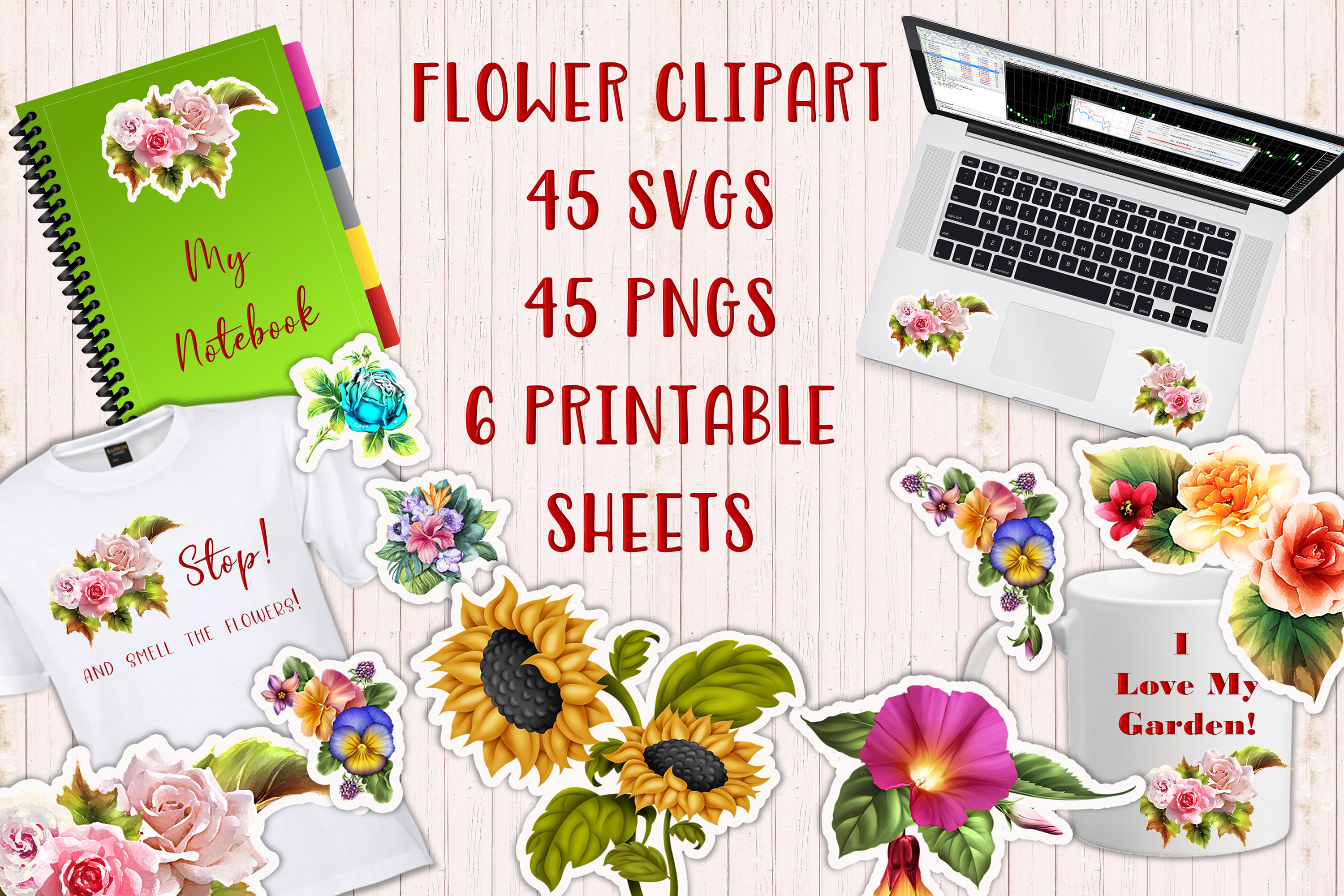 Download Free Flower Clipart Bundle Graphic By The Paper Princess Creative for Cricut Explore, Silhouette and other cutting machines.