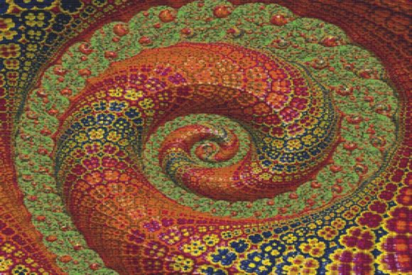Print on Demand: Fractal Cross Stitch Pattern - Spiral Graphic Cross Stitch Patterns By StitchX Designs