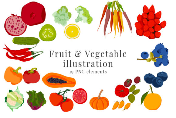 Print on Demand: Fruit and Vegetable Illustration Graphic Illustrations By Primafox Design