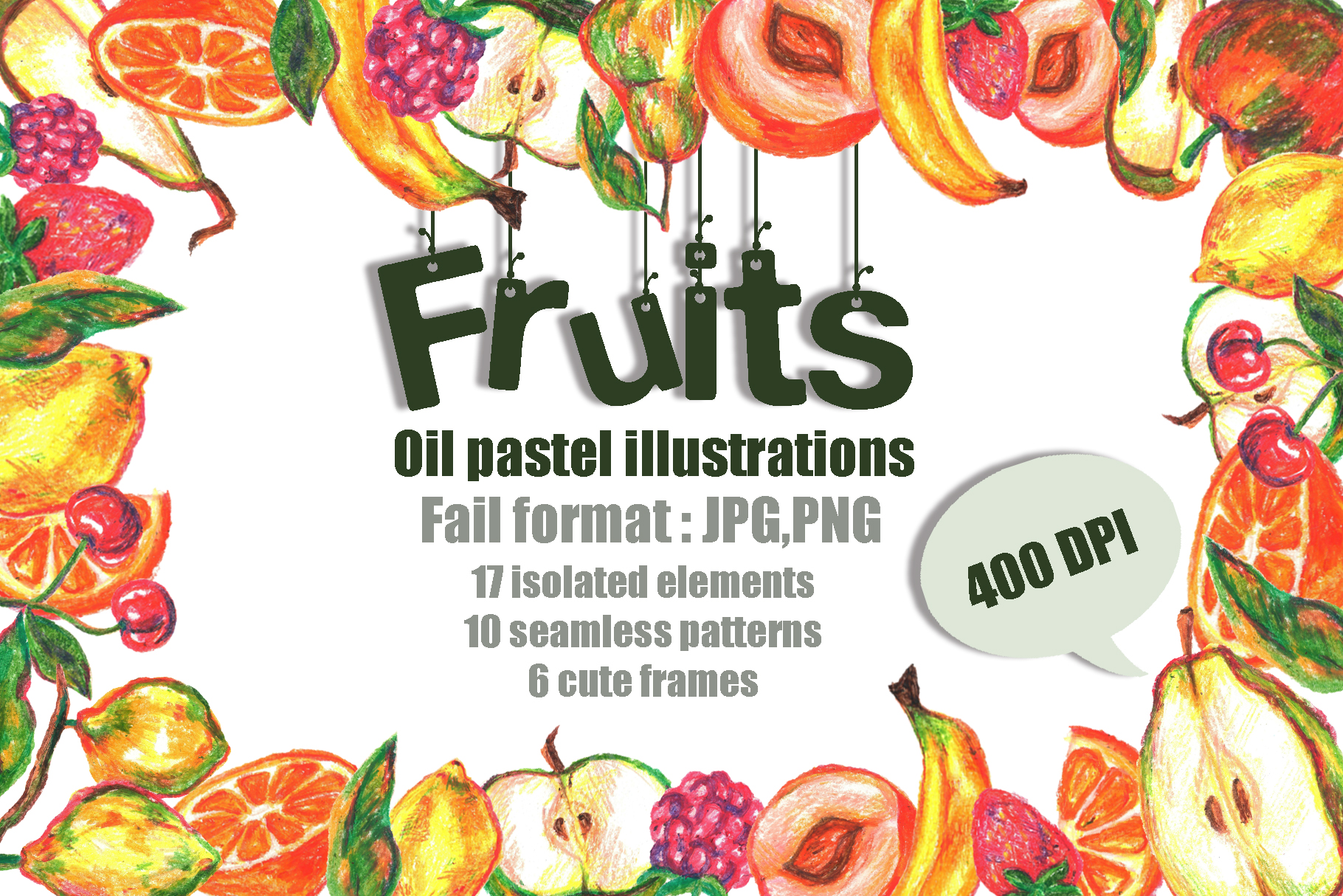 Download Free Fruits Oil Pastels Illustrations Set Graphic By Vasharisovasha for Cricut Explore, Silhouette and other cutting machines.