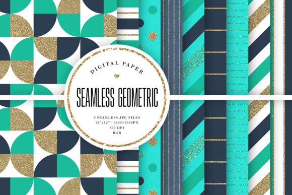 Print on Demand: Glitter Geometric Seamless Patterns Graphic Backgrounds By Sabina Leja