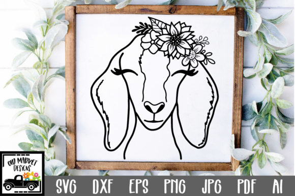 Download Free Goat File Nubian Goat Face Graphic By Oldmarketdesigns for Cricut Explore, Silhouette and other cutting machines.