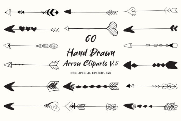 Download Free Hand Drawn Arrows Cliparts Ver 5 Graphic By Creative Tacos for Cricut Explore, Silhouette and other cutting machines.