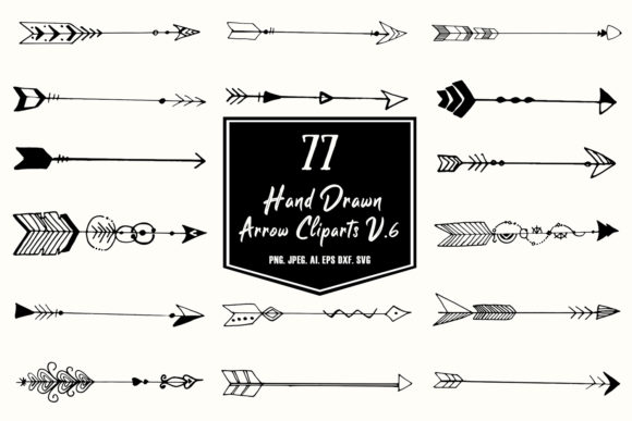 Print on Demand: Hand Drawn Arrows Cliparts Ver. 6 Graphic Illustrations By Creative Tacos - Image 1