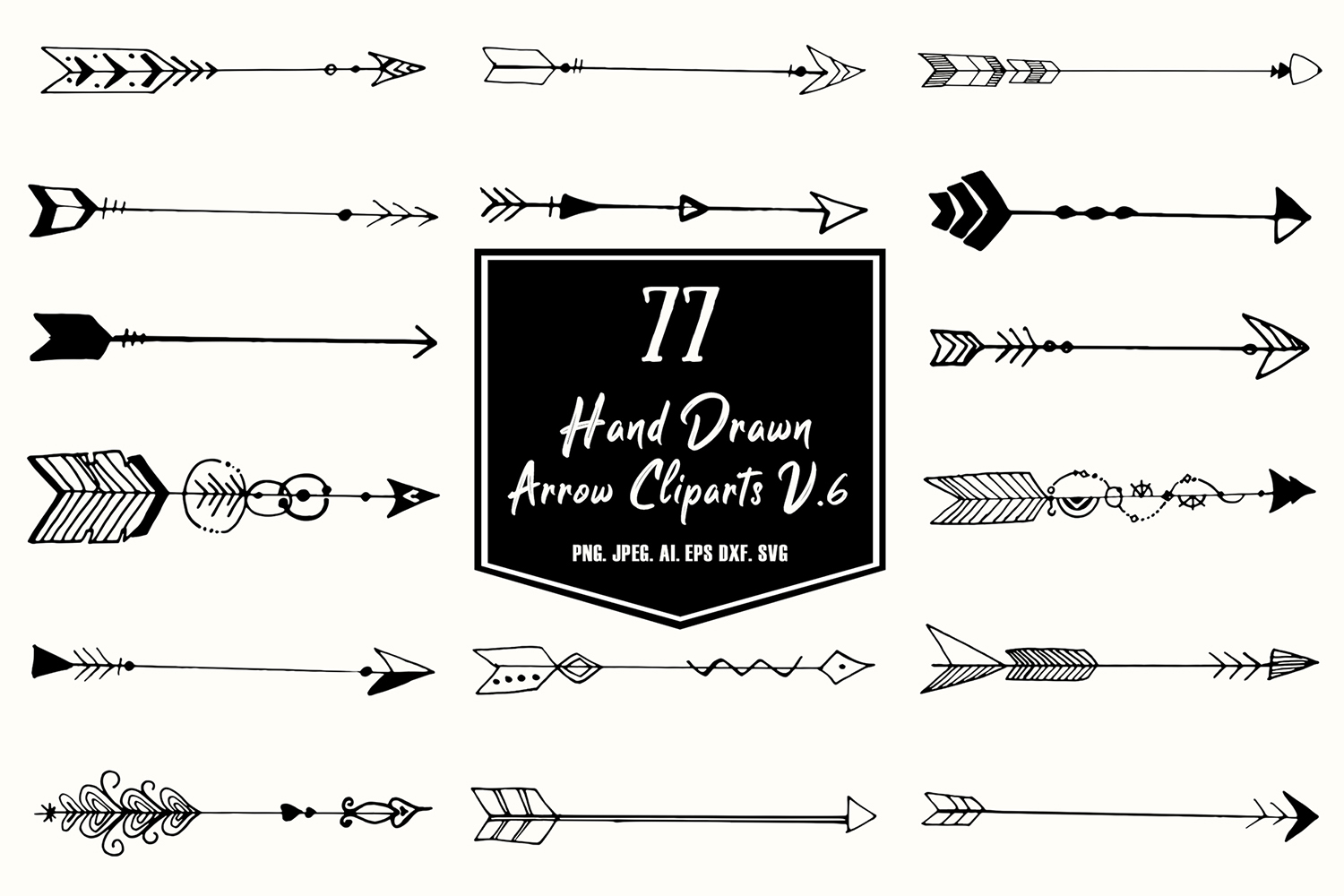 Hand Drawn Arrows Cliparts Ver 6 Graphic By Creative Tacos