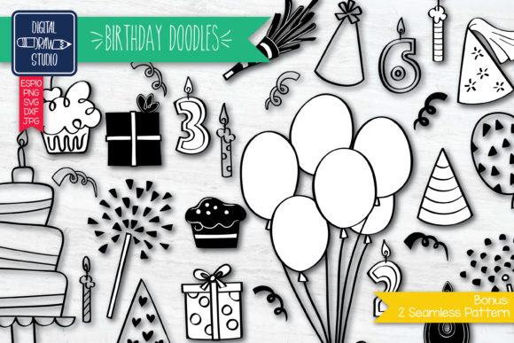 Hand Drawn Birthday Doodle Graphic Illustrations By Digital_Draw_Studio