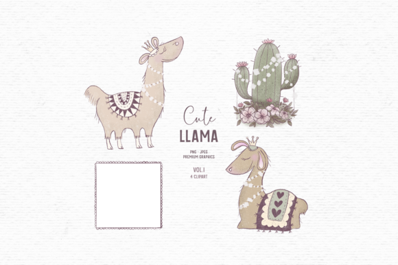 Print on Demand: Hand-drawn Cute Llama Clipart for Kids Graphic Illustrations By Wallifyer
