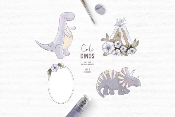 Print on Demand: Hand-drawn Dinosaur Clipart in Blue Graphic Illustrations By Wallifyer
