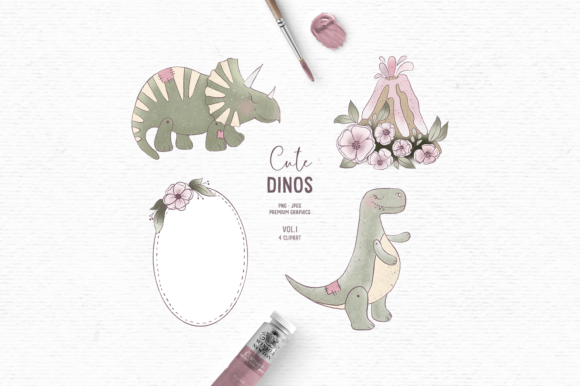 Print on Demand: Hand-drawn Dinosaur Clipart in Pink Graphic Illustrations By Wallifyer