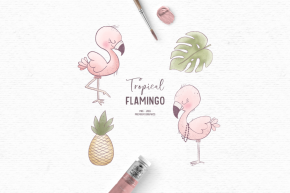 Print on Demand: Hand-drawn Flamingo Clipart for Kids Graphic Illustrations By Wallifyer