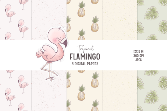 Print on Demand: Hand-drawn Flamingo Digital Papers Grafik Muster von Wallifyer - Bild 1