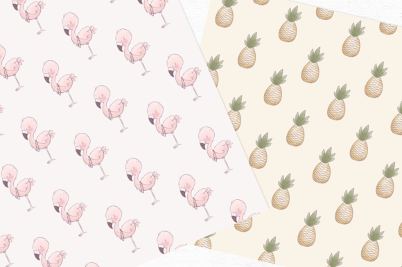 Print on Demand: Hand-drawn Flamingo Digital Papers Grafik Muster von Wallifyer - Bild 2