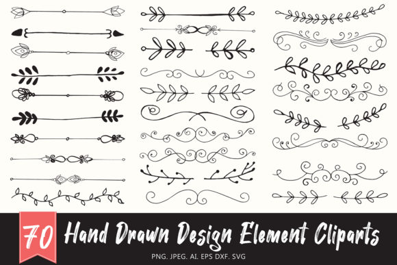 Download Free Handmade Design Element Cliparts Ver 1 Graphic By Creative for Cricut Explore, Silhouette and other cutting machines.