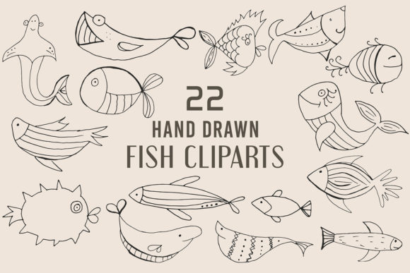 Print on Demand: Handmade Fish Cliparts Pack Graphic Illustrations By Creative Tacos