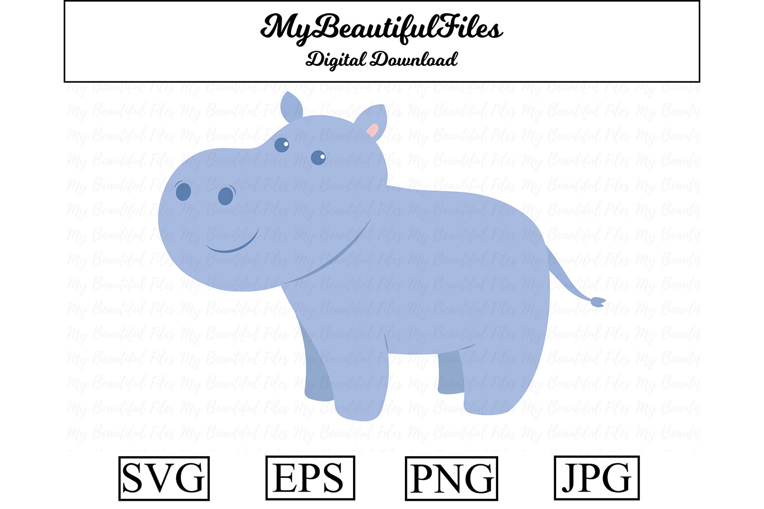 Download Free Hippo Cute Clipart Graphic By Mybeautifulfiles Creative Fabrica for Cricut Explore, Silhouette and other cutting machines.