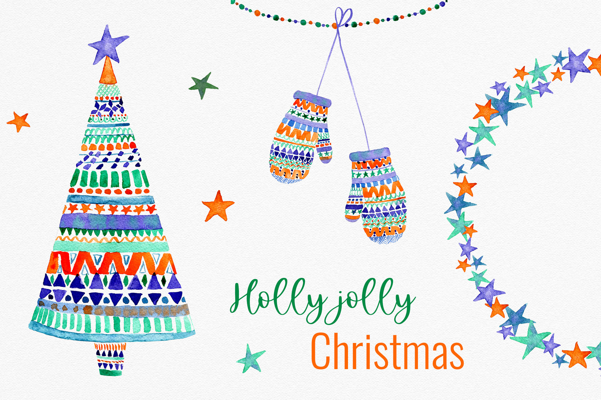 Holly Jolly Christmas Cliparts Graphic By Reddotshouse