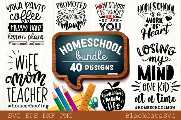 Homeschool Mom Bundle 40 Designs Graphic Crafts By BlackCatsMedia
