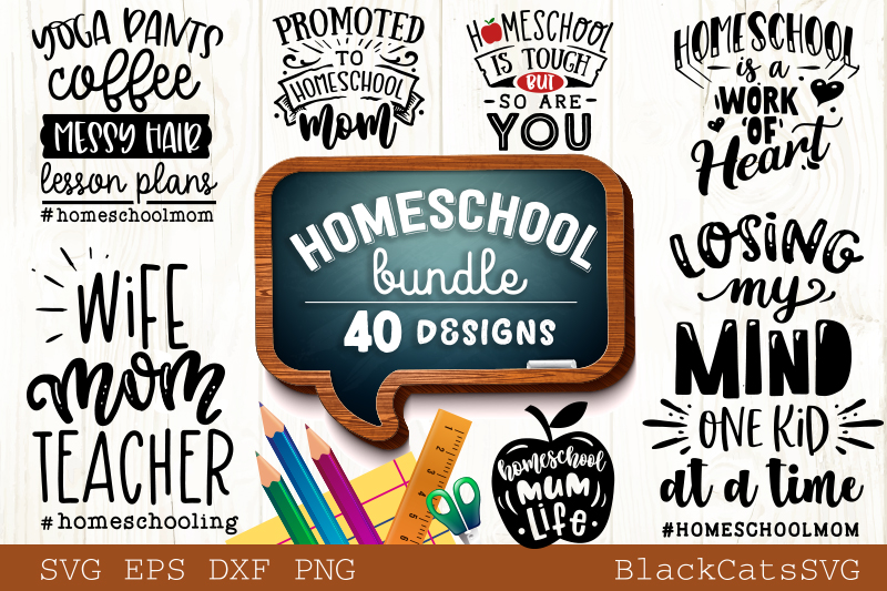 Download Free Homeschool Mom Bundle 40 Designs Graphic By Blackcatsmedia for Cricut Explore, Silhouette and other cutting machines.