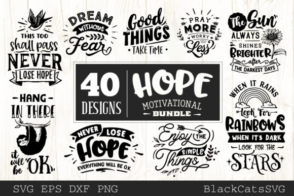 Hope Motivational Bundle Grafik Plotterdateien von BlackCatsMedia