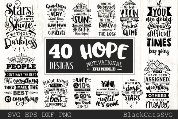 Download Free Hope Motivational Bundle Graphic By Blackcatsmedia Creative for Cricut Explore, Silhouette and other cutting machines.
