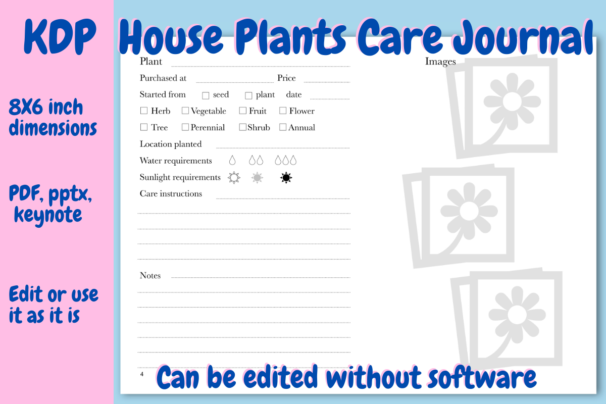 Download Free House Plants Care Journal For Kdp Grafico Por Income Plum for Cricut Explore, Silhouette and other cutting machines.