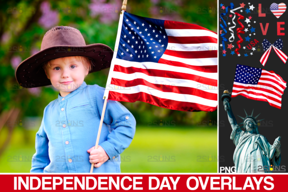 Independence Day Photo Overlays USA Graphic Actions & Presets By 2SUNS