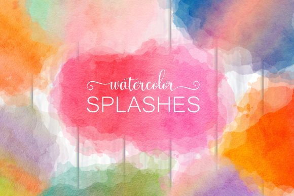 Print on Demand: Ink Splashes and Watercolor Splatters Grafik Hintegründe von Prawny