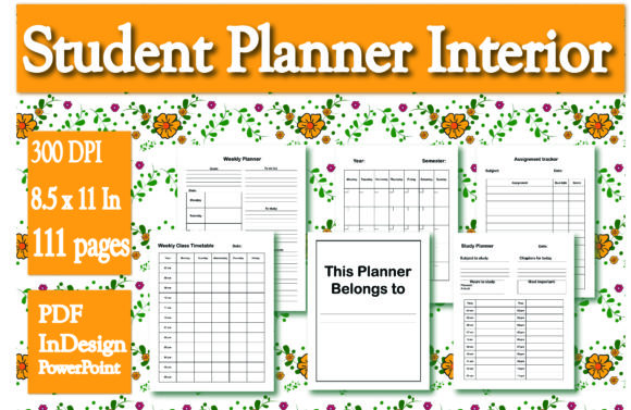 Print on Demand: KDP Interior Student Planner Graphic KDP Interiors By Ivana Prue