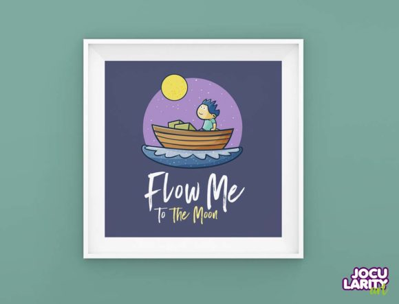 Download Free Kawaii Flow Me To The Moon Wall Art Graphic By Jocularityart for Cricut Explore, Silhouette and other cutting machines.