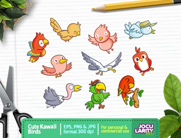 Kawaii Happy Birds Clipart Cute Birds Graphic By
