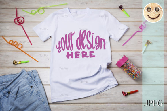 Print on Demand: Kids T-shirt Mockup with Birthday Party Graphic Product Mockups By TasiPas